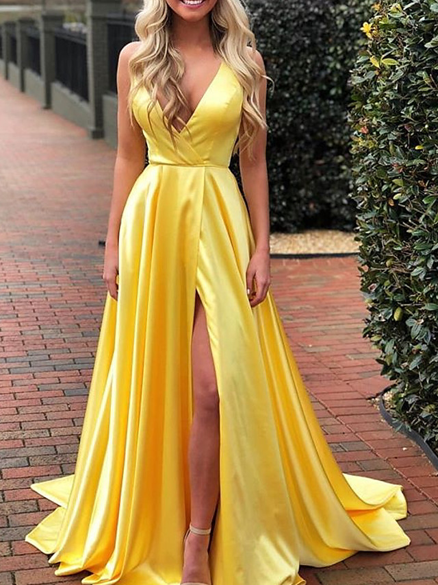 A-Line Empire Gold Prom Formal Evening Dress V Neck Sleeveless Sweep / Brush Train Charmeuse with Pleats Split 2020