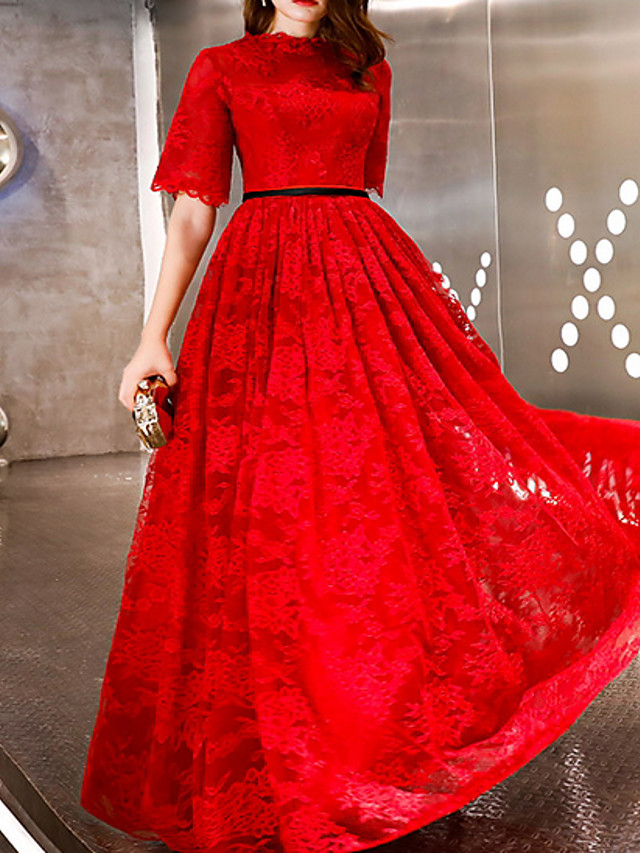 A-Line Elegant Red Engagement Prom Dress Jewel Neck Half Sleeve Floor Length Polyester with Pleats 2020