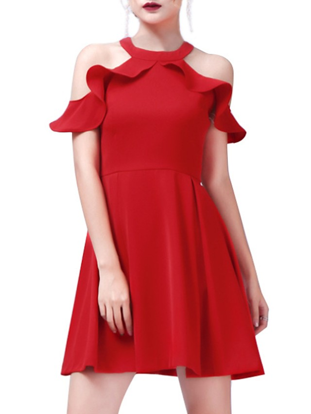 A-Line Halter Neck Short Length Polyester Bridesmaid Dress with Ruffles
