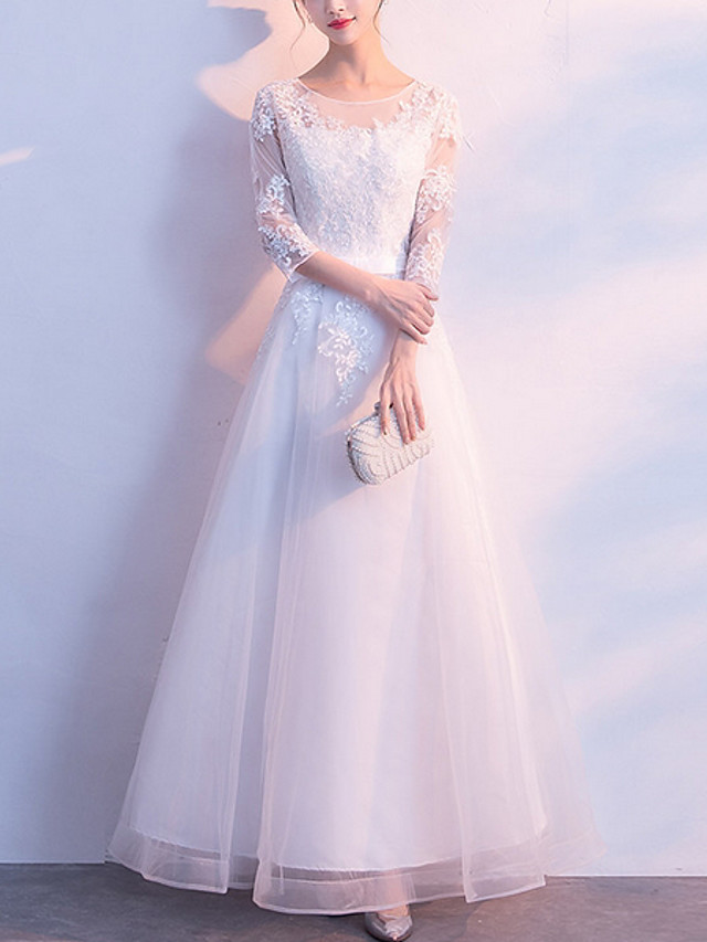 A-Line Jewel Neck Ankle Length Chiffon Bridesmaid Dress with Tier