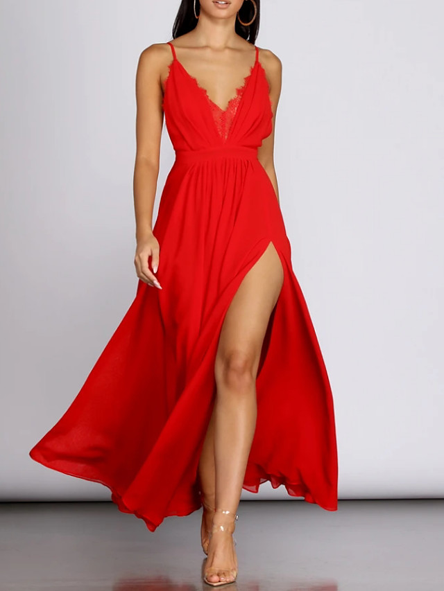 A-Line Sexy Red Holiday Prom Dress V Neck Sleeveless Floor Length Polyester with Pleats Split 2020
