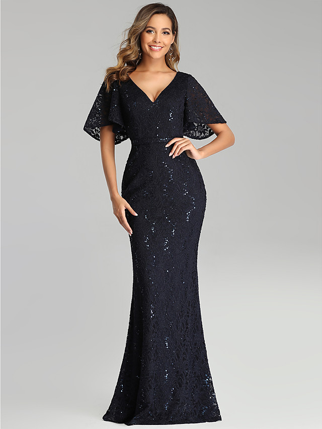 Mermaid / Trumpet Blue Black Wedding Guest Formal Evening Dress V Neck Short Sleeve Floor Length Lace with Sequin 2020
