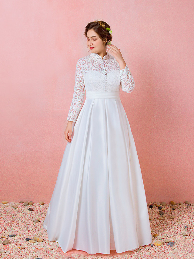 A-Line Wedding Dresses High Neck Floor Length Lace Satin Long Sleeve Formal Simple Plus Size with Lace Buttons 2020