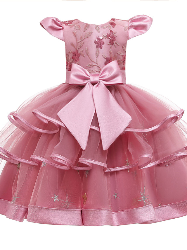 Kids Girls' Active Cute Patchwork Solid Colored Peplum Sequins Beaded Sleeveless Knee-length Dress Blushing Pink