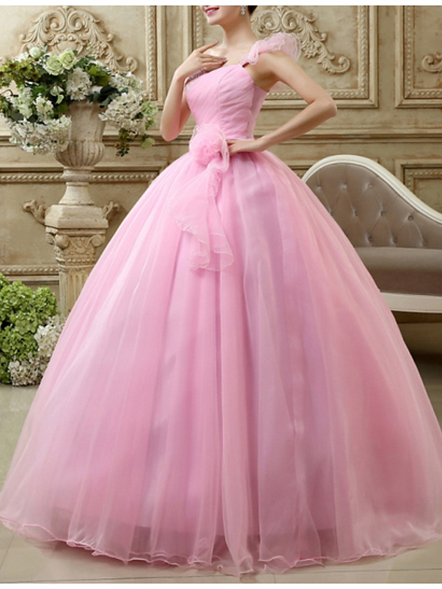 Ball Gown Luxurious Pink Engagement Prom Dress One Shoulder Sleeveless Floor Length Polyester with Draping 2020
