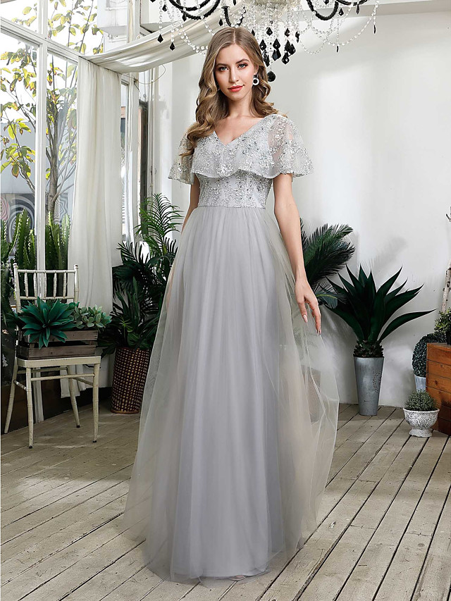 A-Line Grey Prom Formal Evening Dress V Neck Short Sleeve Floor Length Tulle Sequined with Sequin 2020
