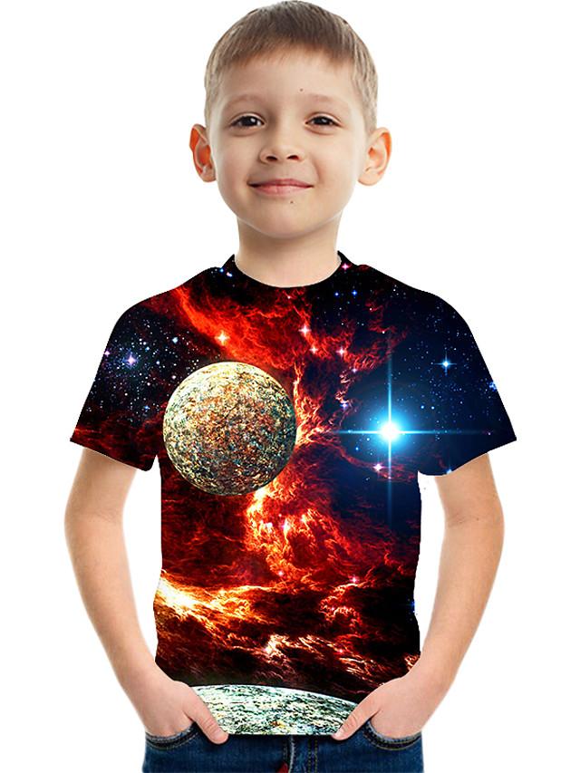 Børn Drenge Basale Gade Farveblok 3D Trykt mønster Kortærmet T-shirt Rød