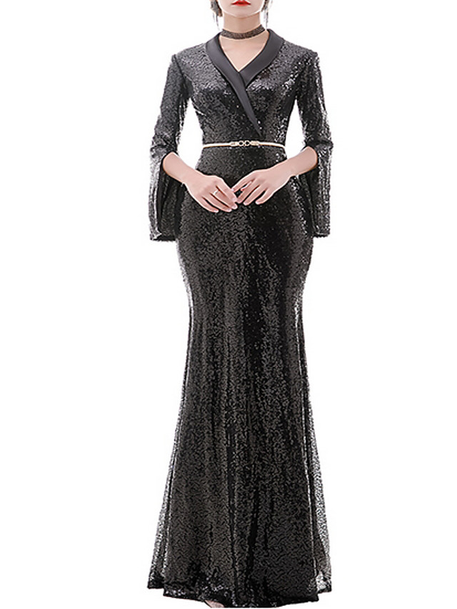 Sheath / Column Elegant Black Engagement Formal Evening Dress V Neck Long Sleeve Floor Length Polyester with Sequin 2020