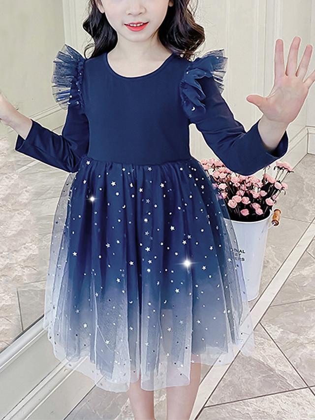 Kids Girls' Cute Blue Galaxy Solid Colored Mesh Patchwork Long Sleeve Knee-length Dress Royal Blue