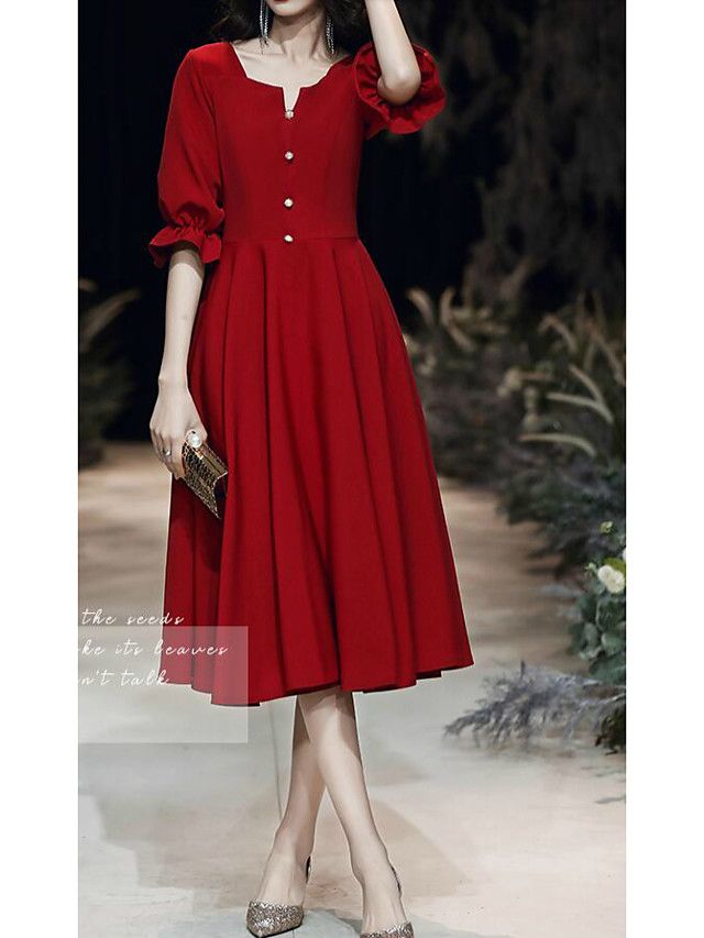 A-Line Minimalist Red Homecoming Cocktail Party Dress V Neck Half Sleeve Knee Length Spandex with Buttons 2020