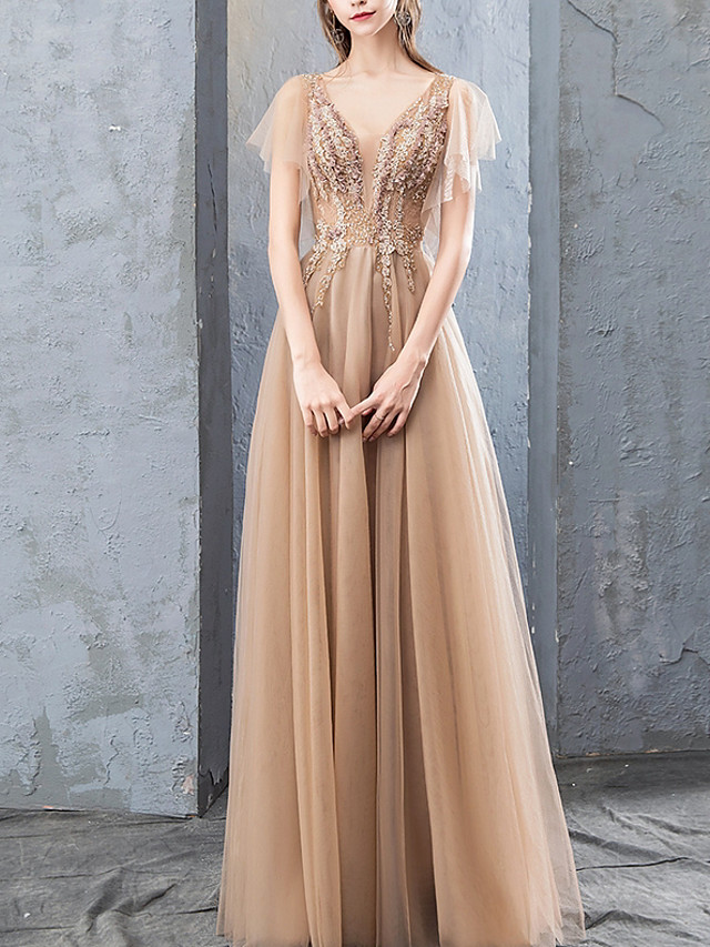 A-Line Empire Gold Prom Formal Evening Dress V Neck Short Sleeve Floor Length Tulle with Beading Sequin Appliques 2020