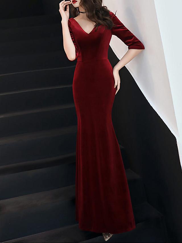Mermaid / Trumpet Sexy Red Prom Formal Evening Dress V Neck Half Sleeve Floor Length Velvet with Pleats 2020