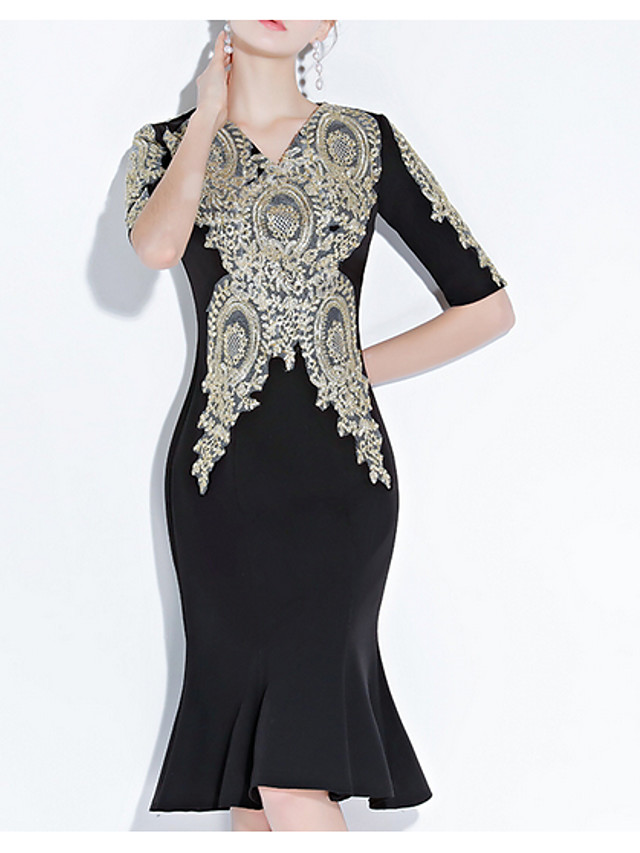 Mermaid / Trumpet Sexy Black Cocktail Party Formal Evening Dress V Neck Half Sleeve Knee Length Polyester with Appliques 2020