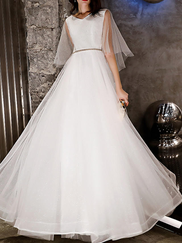 A-Line Glittering White Engagement Prom Dress V Neck Sleeveless Floor Length Lace Tulle with Crystals Beading 2020