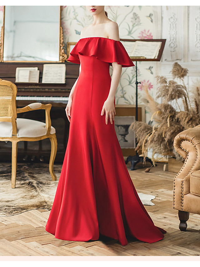Mermaid / Trumpet Minimalist Red Engagement Formal Evening Dress Off Shoulder Short Sleeve Sweep / Brush Train Satin with Ruffles 2020