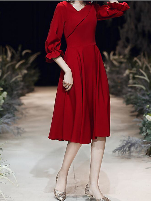 A-Line Minimalist Red Homecoming Cocktail Party Dress V Neck Half Sleeve Knee Length Spandex with Pleats 2020