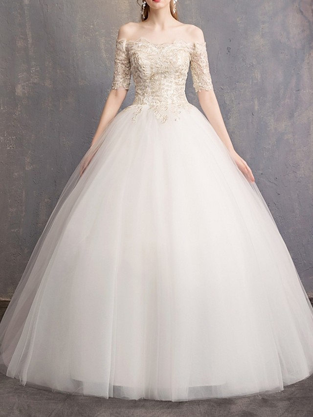 Ball Gown Off Shoulder Sweep / Brush Train Lace Half Sleeve Beach Wedding Dresses with Lace Insert 2020