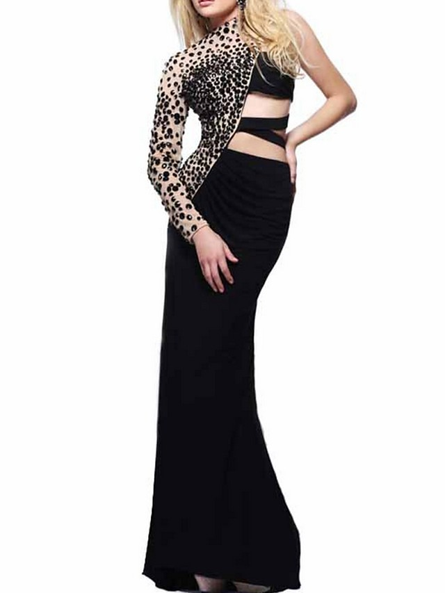 Sheath / Column Sexy Black Party Wear Formal Evening Dress One Shoulder Long Sleeve Sweep / Brush Train Polyester with Beading 2020