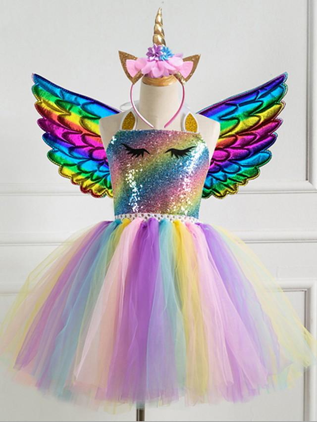 Barn Jente søt stil Prinsesse Fest Formell Regnbue Kjole Lilla