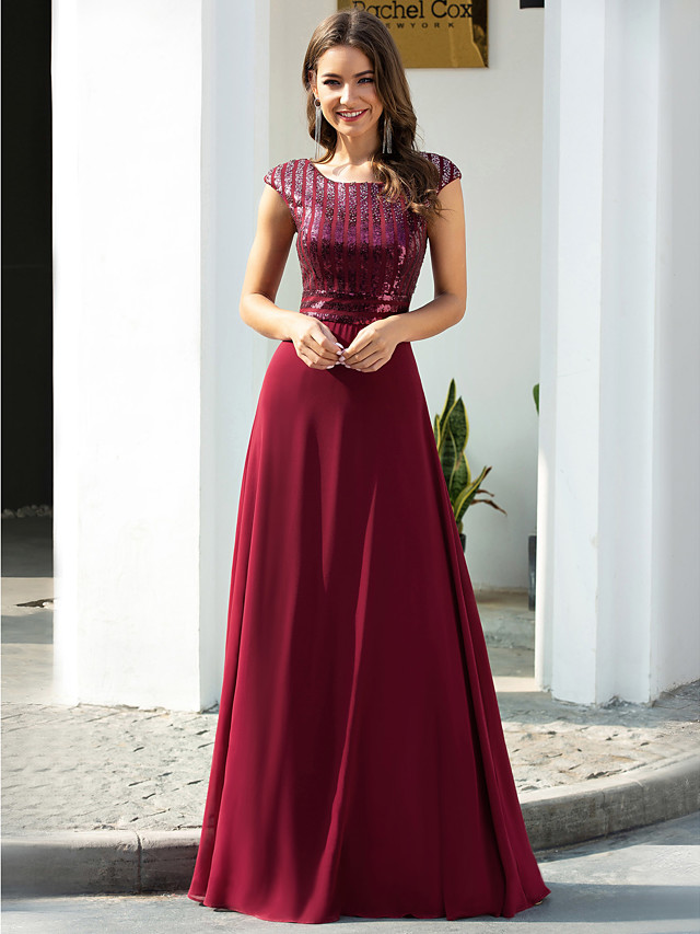 A-Line Empire Red Prom Formal Evening Dress Jewel Neck Short Sleeve Floor Length Chiffon with Sequin 2020