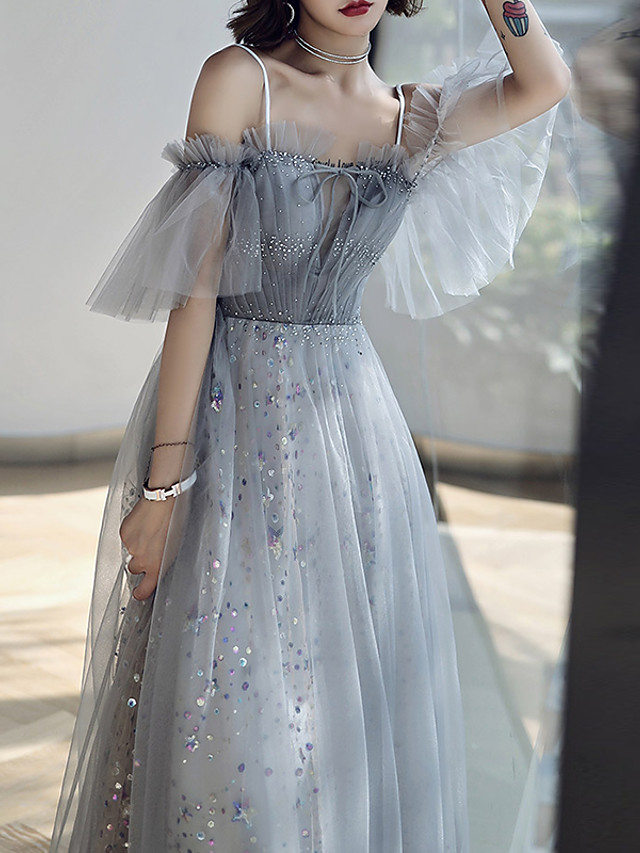 A-Line Glittering Grey Prom Formal Evening Dress Off Shoulder Short Sleeve Floor Length Tulle with Crystals Sequin 2020