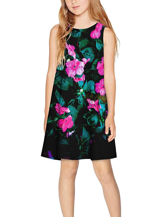 Kids Girls' Basic Cute Floral Print Sleeveless Above Knee Dress Black