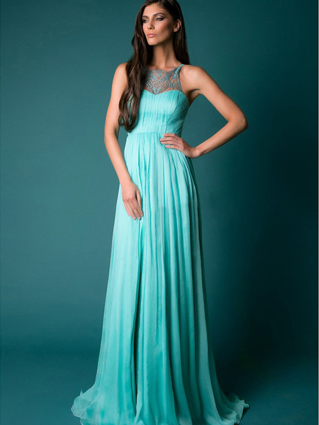 A-Line Empire Blue Prom Formal Evening Dress Illusion Neck Sleeveless Sweep / Brush Train Chiffon with Pleats Split 2020