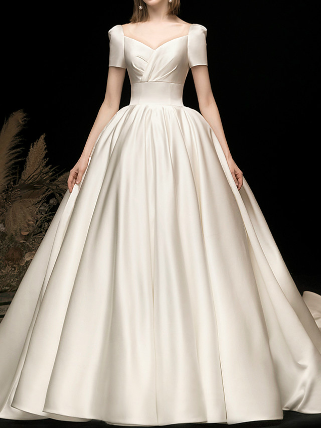 Ball Gown Wedding Dresses V Neck Watteau Train Satin Short Sleeve Simple Elegant with 2020