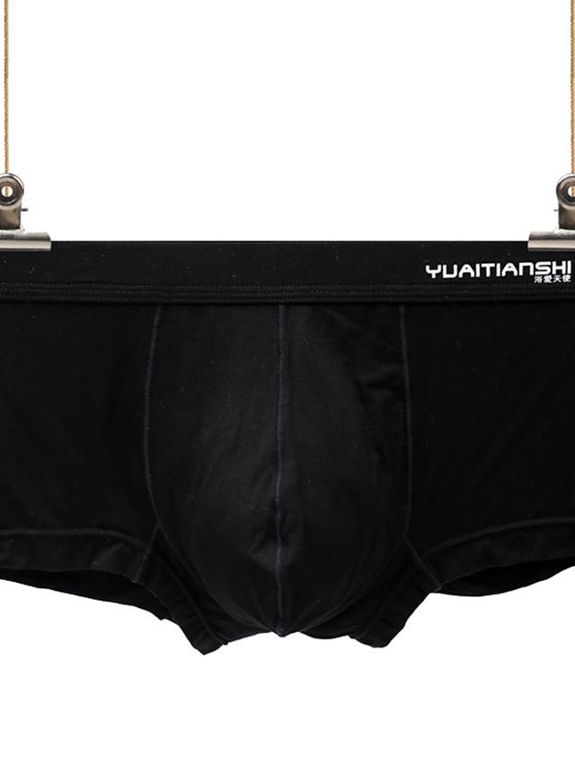 Men's Basic Boxers Underwear - Normal Low Waist Black White Blue S M L