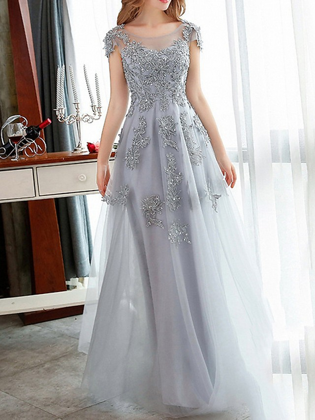 A-Line Red Grey Engagement Formal Evening Dress Jewel Neck Short Sleeve Floor Length Tulle with Appliques 2020