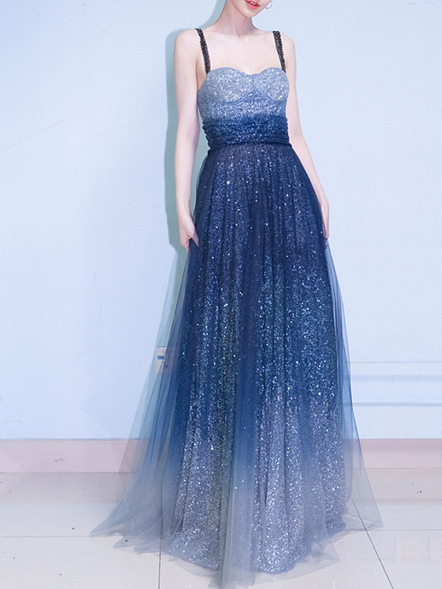 A-Line Blue White Engagement Prom Dress Spaghetti Strap Sleeveless Floor Length Polyester with Sequin 2020