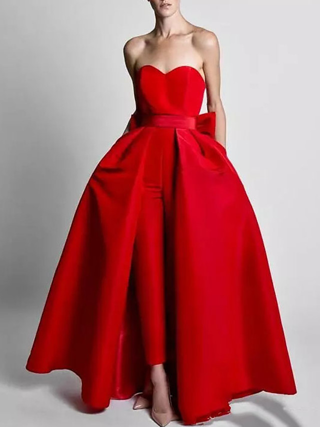 Two Piece Jumpsuits Elegant Wedding Guest Formal Evening Dress Sweetheart Neckline Sleeveless Floor Length Polyester with Bow(s) Overskirt 2020