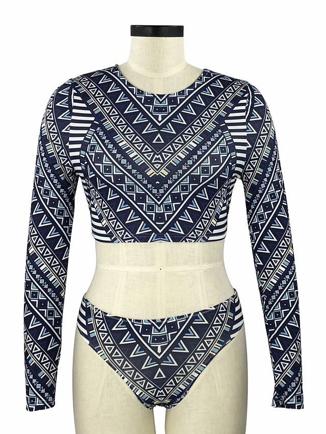 Women's Basic Fuchsia Royal Blue Cheeky Tankini Swimwear Swimsuit - Geometric Print S M L Fuchsia
