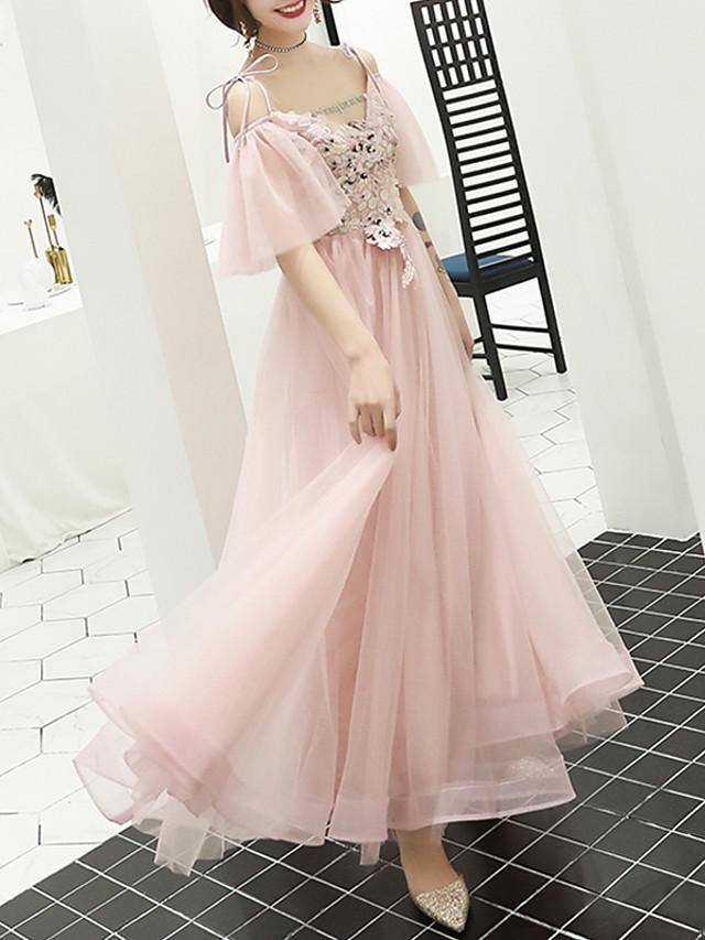 A-Line Floral Pink Prom Formal Evening Dress V Neck Short Sleeve Floor Length Tulle with Appliques 2020