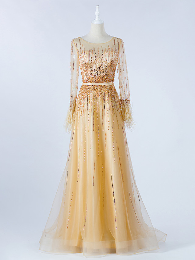 A-Line Luxurious Gold Prom Formal Evening Dress Illusion Neck Long Sleeve Sweep / Brush Train Tulle with Beading 2020 / Illusion Sleeve