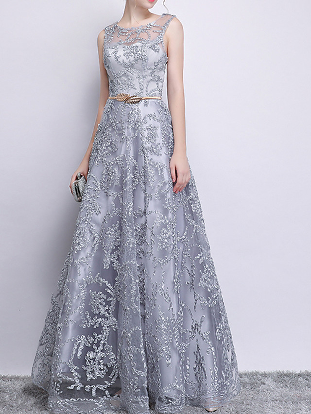 A-Line Glittering Grey Prom Formal Evening Dress Jewel Neck Sleeveless Floor Length Polyester with Sequin Appliques 2020