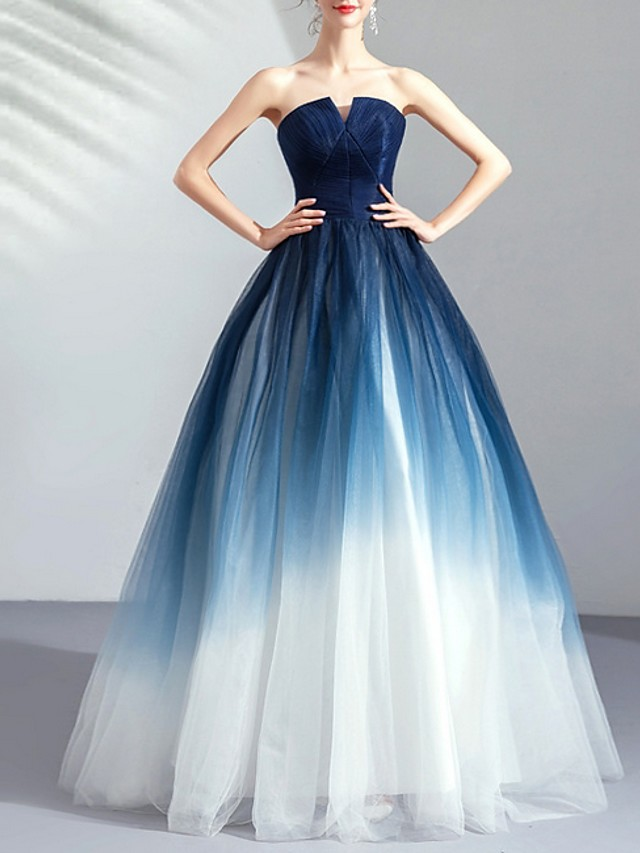 Ball Gown Color Block Blue Prom Formal Evening Dress Strapless Sleeveless Floor Length Tulle with Pleats Ruched 2020