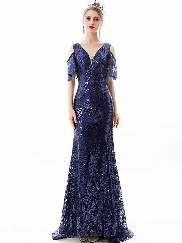 Mermaid / Trumpet Glittering Blue Prom Formal Evening Dress V Neck Short Sleeve Sweep / Brush Train Lace with Crystals Sequin 2020