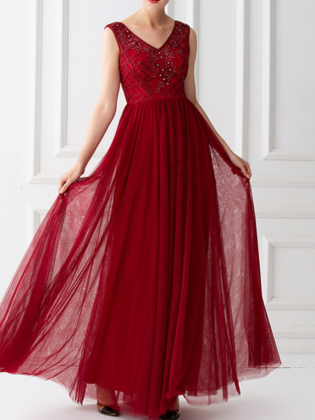 A-Line Hot Red Wedding Guest Prom Dress V Neck Sleeveless Floor Length Tulle with Beading Sequin 2020