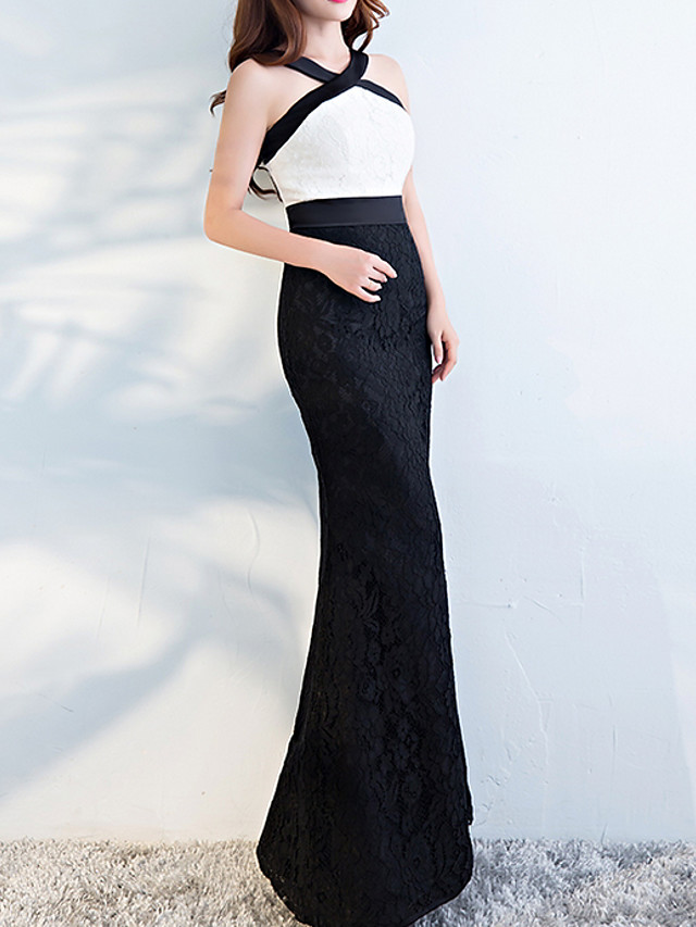 Mermaid / Trumpet White Black Engagement Formal Evening Dress Halter Neck Sleeveless Floor Length Polyester with Appliques 2020