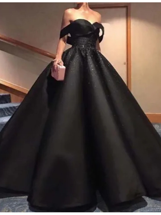 Ball Gown Wedding Dresses Off Shoulder Floor Length Polyester Strapless Formal Plus Size Black with Draping 2020
