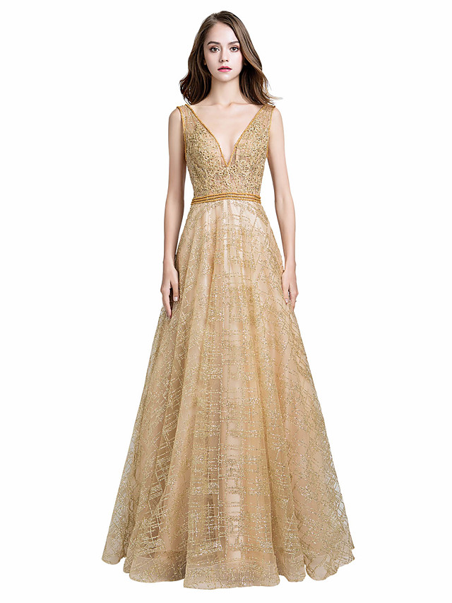 A-Line Glittering Beautiful Back Engagement Formal Evening Dress V Neck Sleeveless Floor Length Tulle with Sash / Ribbon Crystals Appliques 2020