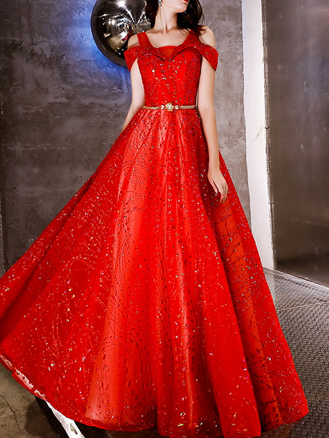 A-Line Luxurious Red Engagement Prom Dress V Neck Sleeveless Floor Length Polyester with Sash / Ribbon Sequin 2020