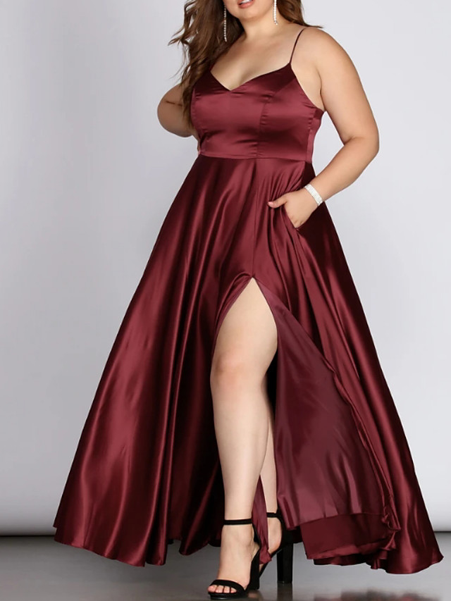 A-Line Plus Size Red Engagement Prom Dress V Neck Sleeveless Floor Length Charmeuse with Pleats Split 2020
