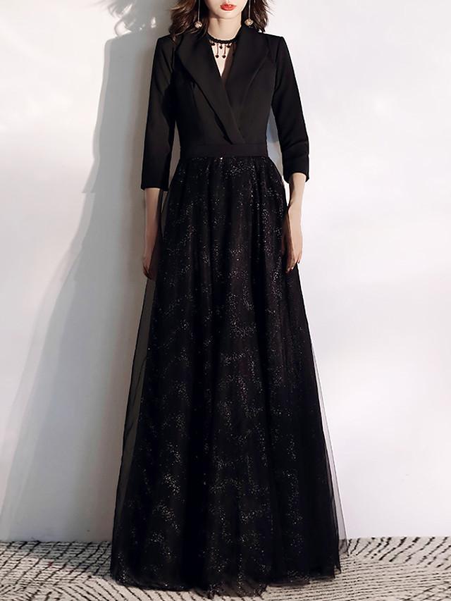 A-Line Glittering Black Prom Formal Evening Dress V Neck 3/4 Length Sleeve Floor Length Tulle Spandex with Sequin 2020
