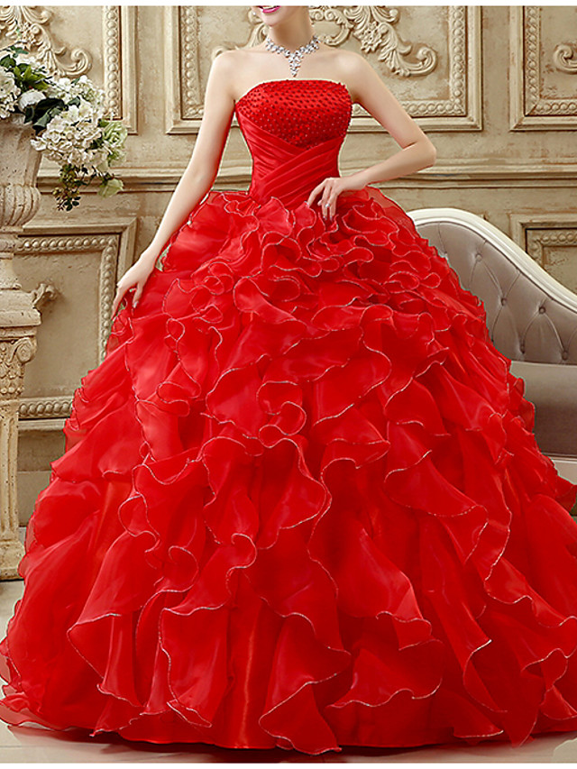 Ball Gown Luxurious Red Prom Formal Evening Dress Strapless Sleeveless Floor Length Chiffon Polyester with Beading Tier 2020