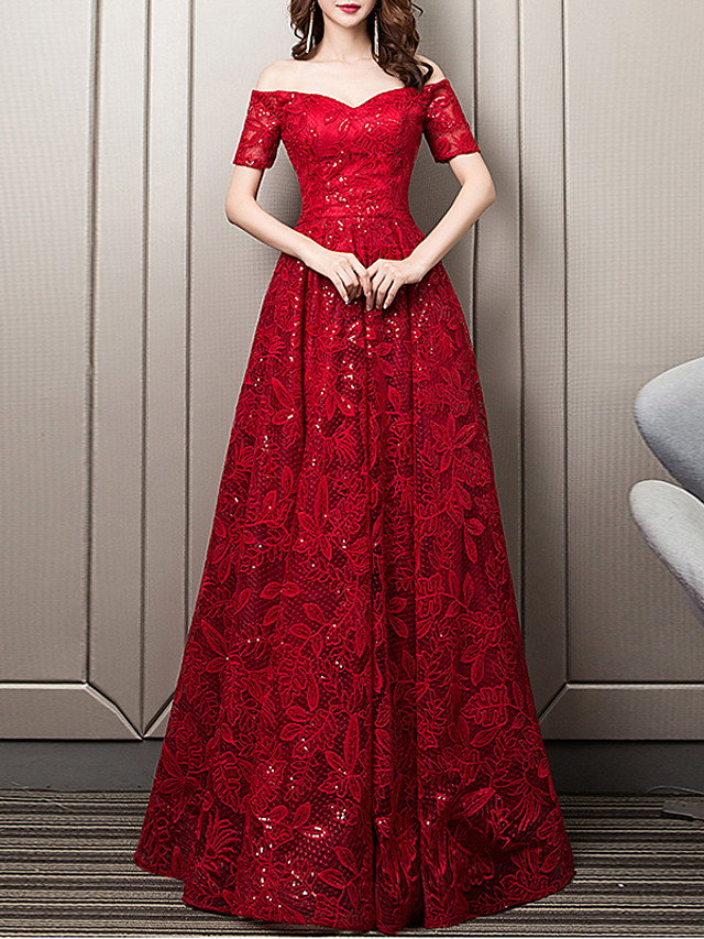 A-Line Floral Red Wedding Guest Formal Evening Dress Sweetheart Neckline Short Sleeve Floor Length Lace with Sequin Embroidery 2020
