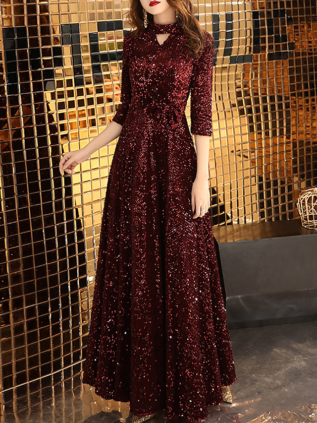 A-Line Glittering Red Prom Formal Evening Dress High Neck Half Sleeve Floor Length Sequined with Sequin 2020