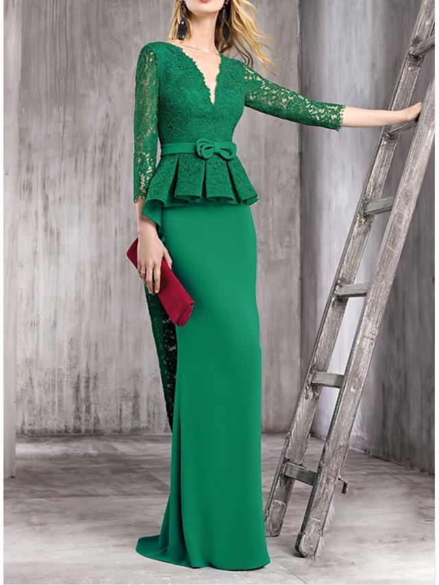 Sheath / Column Elegant Green Wedding Guest Formal Evening Dress V Neck Half Sleeve Sweep / Brush Train Polyester with Bow(s) Draping Overskirt 2020