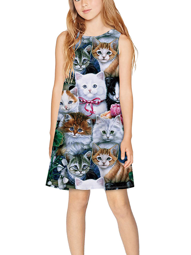 Kids Girls' Basic Cute Animal Cartoon Print Sleeveless Above Knee Dress Gray